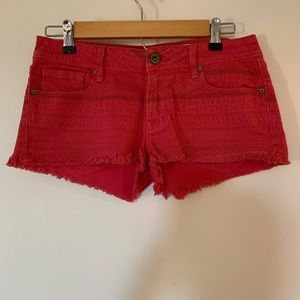 Red Denim Bullhead Shorts
